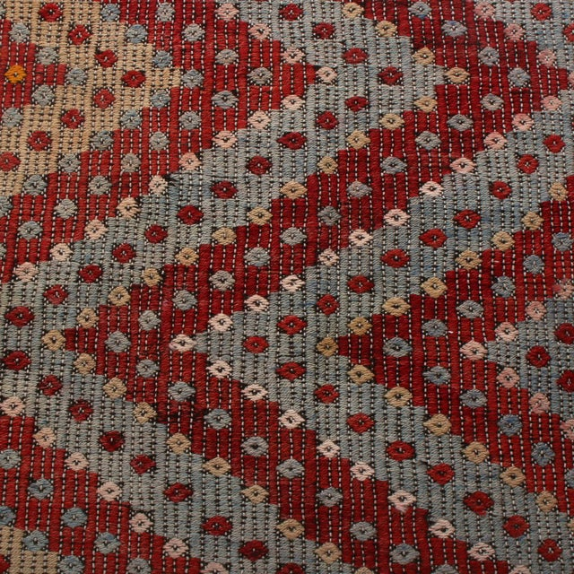 Tribal Vintage Mid-Century Geometric Red and Blue Wool Kilim Runner - 2′10″ × 10′10″ For Sale - Image 3 of 6