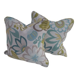 Floral Blue & Green Pillows - a Pair For Sale