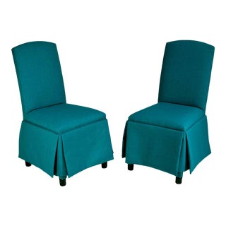 Contemporary Upholstered Slipper Chairs in Turqoise - a Pair For Sale