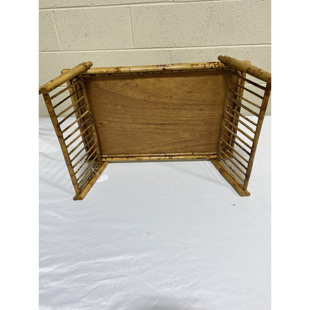 """Vintage Burnt Bamboo """"Breakfast"""" Tray Stand For Sale - Image 4 of 12"""
