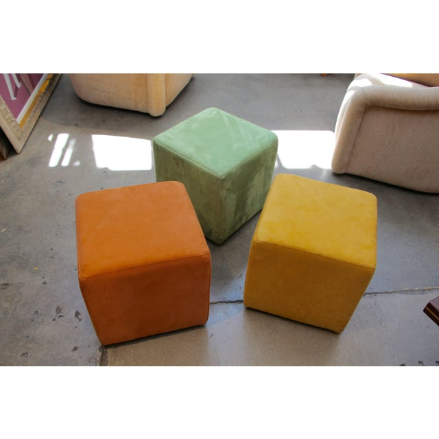 A nice grouping of three micro fiber ottomans from the German firm Himolla. There are in good age appropriate condition...