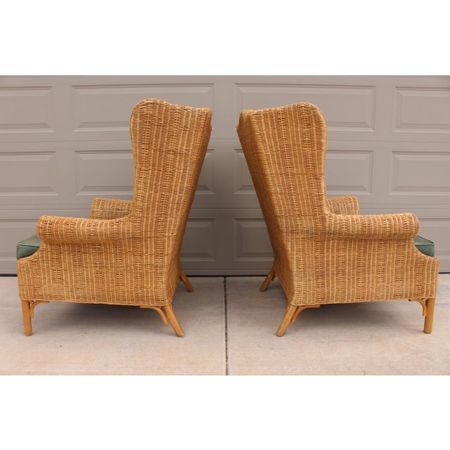 Hollywood Regency 1970s Vintage Henry Link Woven Wicker Wingback Chairs- A Pair For Sale - Image 3 of 13