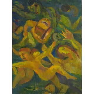 """Jennings Tofel """"Swimmers"""" Expressionist Figures Oil Painting on Canvas, 1951 For Sale"""