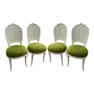 Set of 4 Itallian Designer Shell Form Gratto Dining Chairs W Chartreuse Velvet For Sale