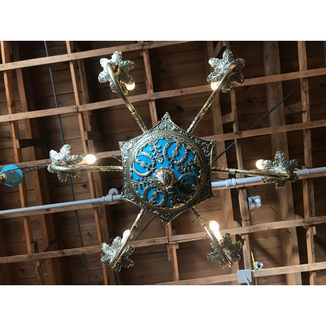 Russian Imperial Blue Bronze Chandeliers a Pair For Sale - Image 4 of 13