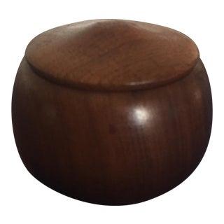Vintage Mid Century Danish Modern Walnut Wood Box W/Lid