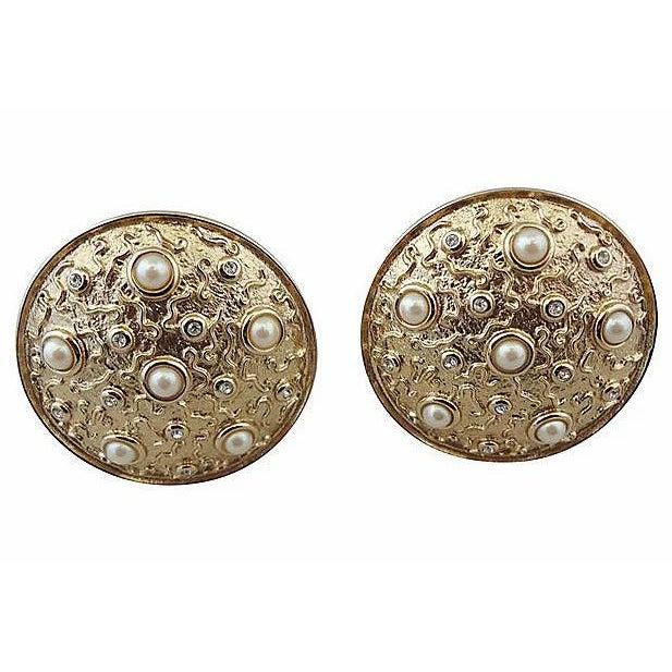 1980s Guy Laroche Faux-Pearl Earrings For Sale - Image 4 of 6