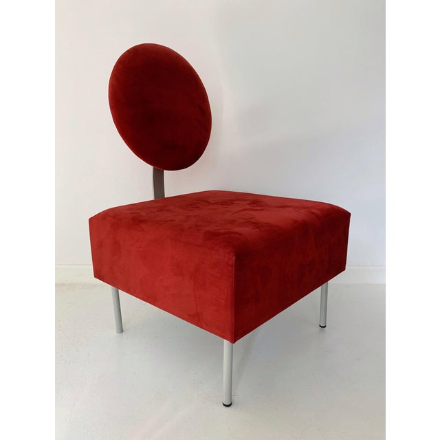 Vintage Andreu World contemporary red square lounge chair with tilted backrest, circa 1980's in excellent condition.