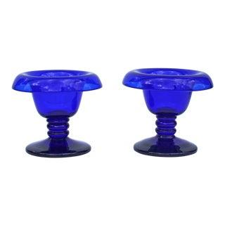 19th Century Antique Cobalt Blue Glass Compotes- A Pair For Sale