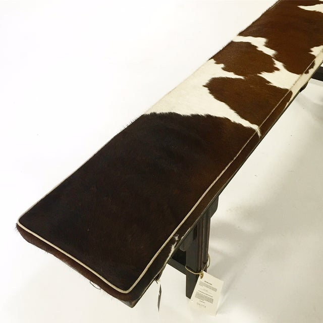 Vintage Chinese Bench with Cowhide Cushion - Image 7 of 8
