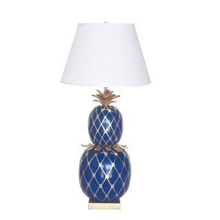 Dana Gibson Pineapple Lamp (Blue/Gold) For Sale