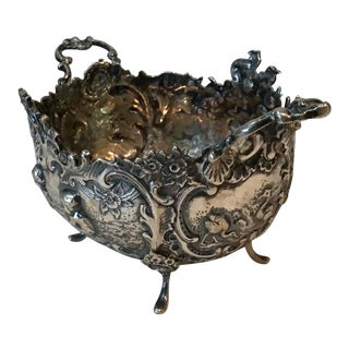 Neoclassical Sterling Silver Repossessed Bowl With Cupid's and Birds For Sale