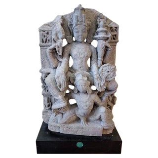 Vishnu Buff Sandstone Sculpture, Central India For Sale