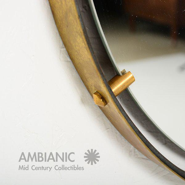 Brass Wall Hanging Mirror For Sale - Image 4 of 9