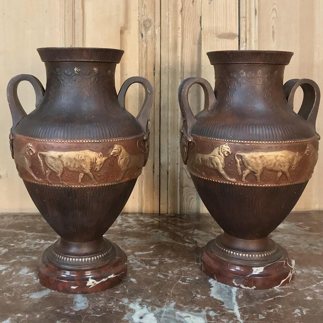 Art Deco Vases, Art Deco Period in Grecian Style, in Painted Spelter on Marble Bases - a Pair For Sale - Image 3 of 13