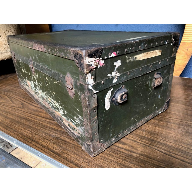 Metal Vintage P & S Co. Military Footlocker With Contrasting Metal Hardware and Leather Handle For Sale - Image 7 of 12