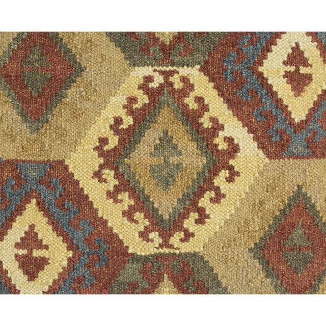 Cotton Brown and Blue Woven Kilim Pillow For Sale - Image 7 of 8