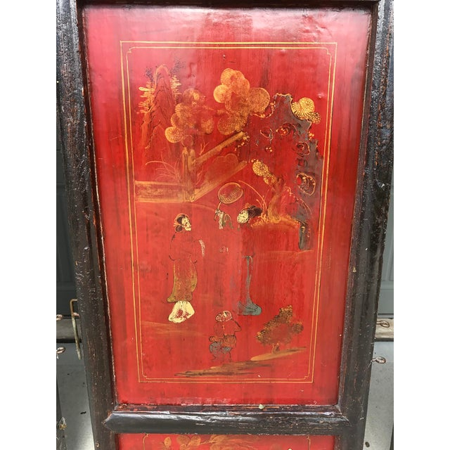 Qing Dynasty Chinese Lacquer Painted Folding Exterior Doors - Set of 4 For Sale - Image 4 of 11
