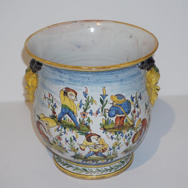 1870s French Yellow, Blue, Green, Red, White Majolica Jardinières / Planters - a Pair For Sale - Image 9 of 13