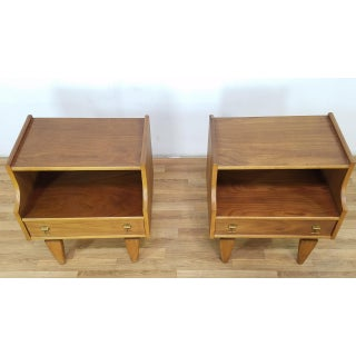 Stanley 1960s Mid-Century Modern Brass Pull Nightstand / End Tables - a Pair Preview
