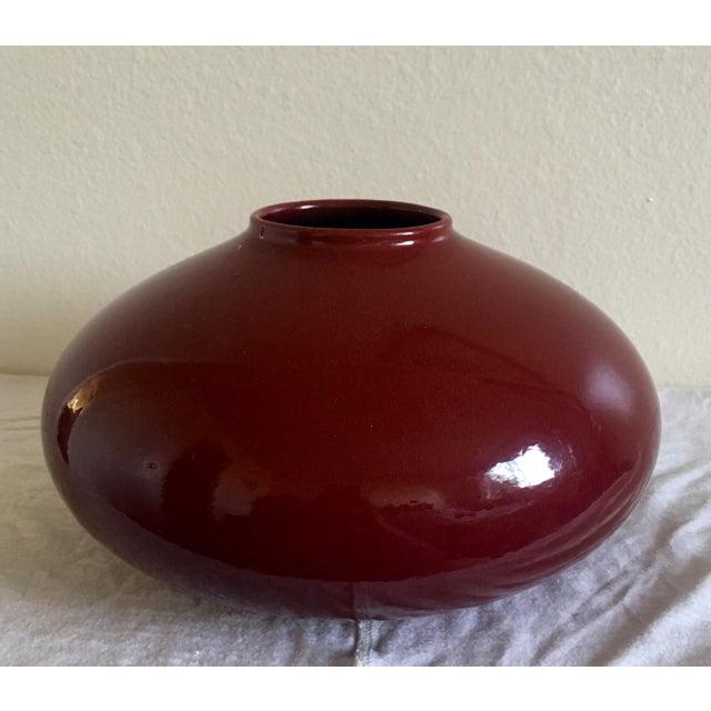 Atomic Mid Century Modern Deep Red Vase Germany Pottery Chairish