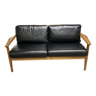West Elm Mathias Mid-Century Wood Frame Leather Loveseat For Sale