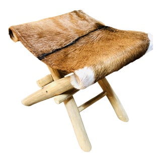 Modern Rustic Cowhide Animal Fur Stool Chair For Sale