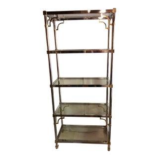 Maison Jansen Chrome and Glass Shelving Unit For Sale