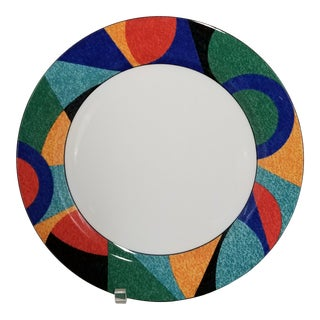 """1990's Postmodern Victoria & Beale Accent 12"""" Round Chop Plate For Sale"""