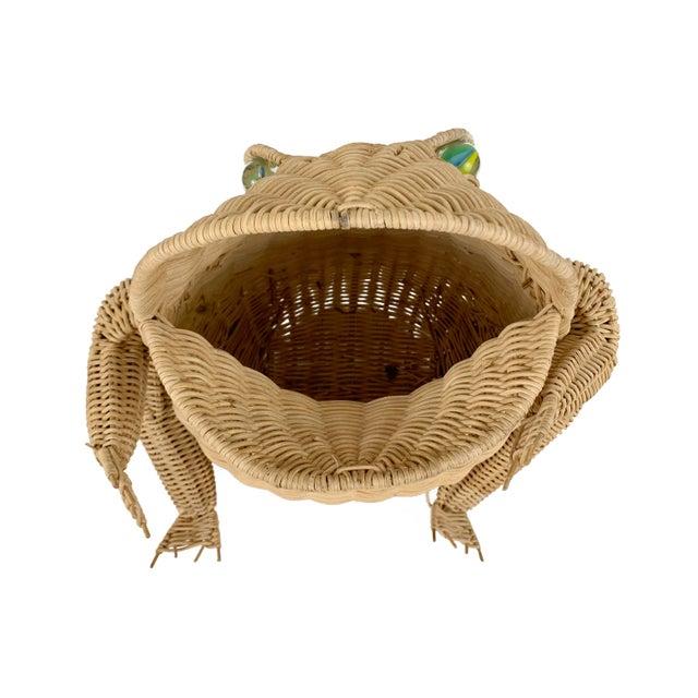 Boho Chic Vintage 1970s Oversized Wicker Frog Wastebasket For Sale - Image 3 of 6