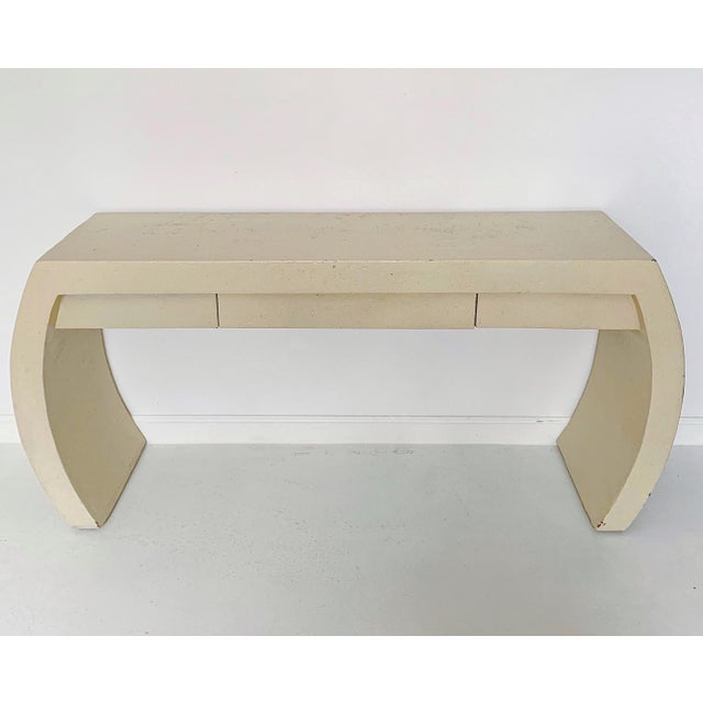 Karl Springer 1980s Contemporary Waterfall Plaster Console Table With Drawer For Sale - Image 4 of 11