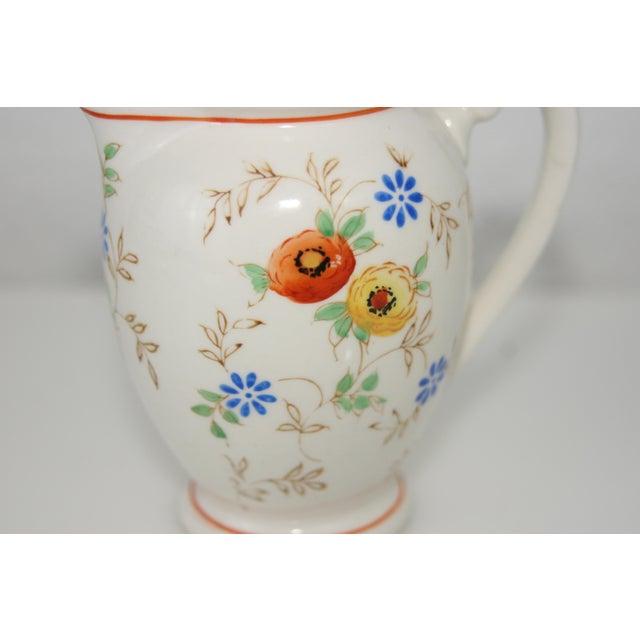 White Vintage Mid-Century Japan Ceramic Floral Design Lidded Syrup Pitcher For Sale - Image 8 of 9