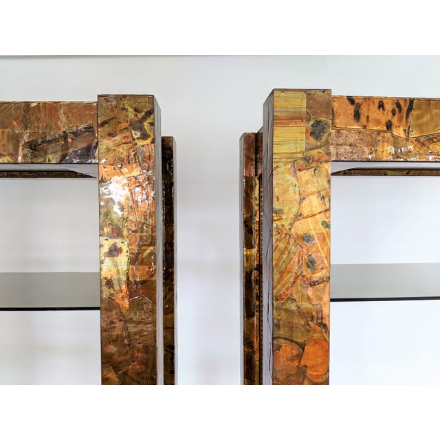Copper & Brass Patchwork Etageres - A Pair For Sale In Miami - Image 6 of 11