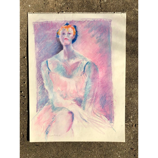 Vintage pink, blue and purple pastel sketch of a woman by artist Virginia Elliott. From the 1980s, signed.