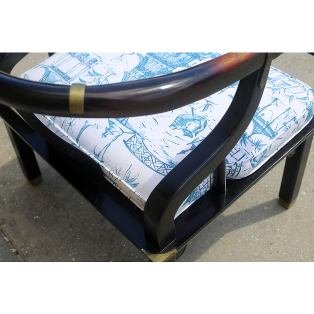 Vintage James Mont Black Lacquer Ming Chair For Sale - Image 9 of 13