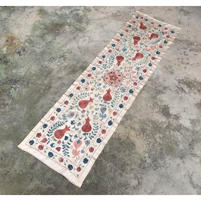 Vintage Pure Silk Suzani Table Runner - Image 5 of 6