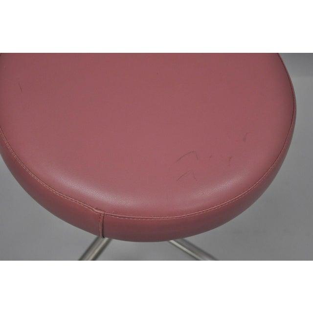 Vintage Chrome Pink Vinyl Adjustable Work Stool For Sale - Image 4 of 9