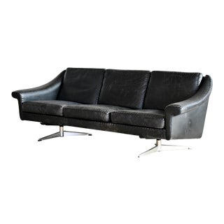Danish Airport Style Sofa Model Matador in Black Leather by Eran in 1966 For Sale