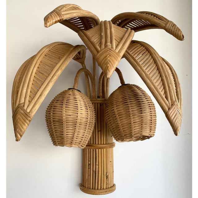 1980s Rattan Palm Tree Sconces, France - a Pair For Sale - Image 9 of 13