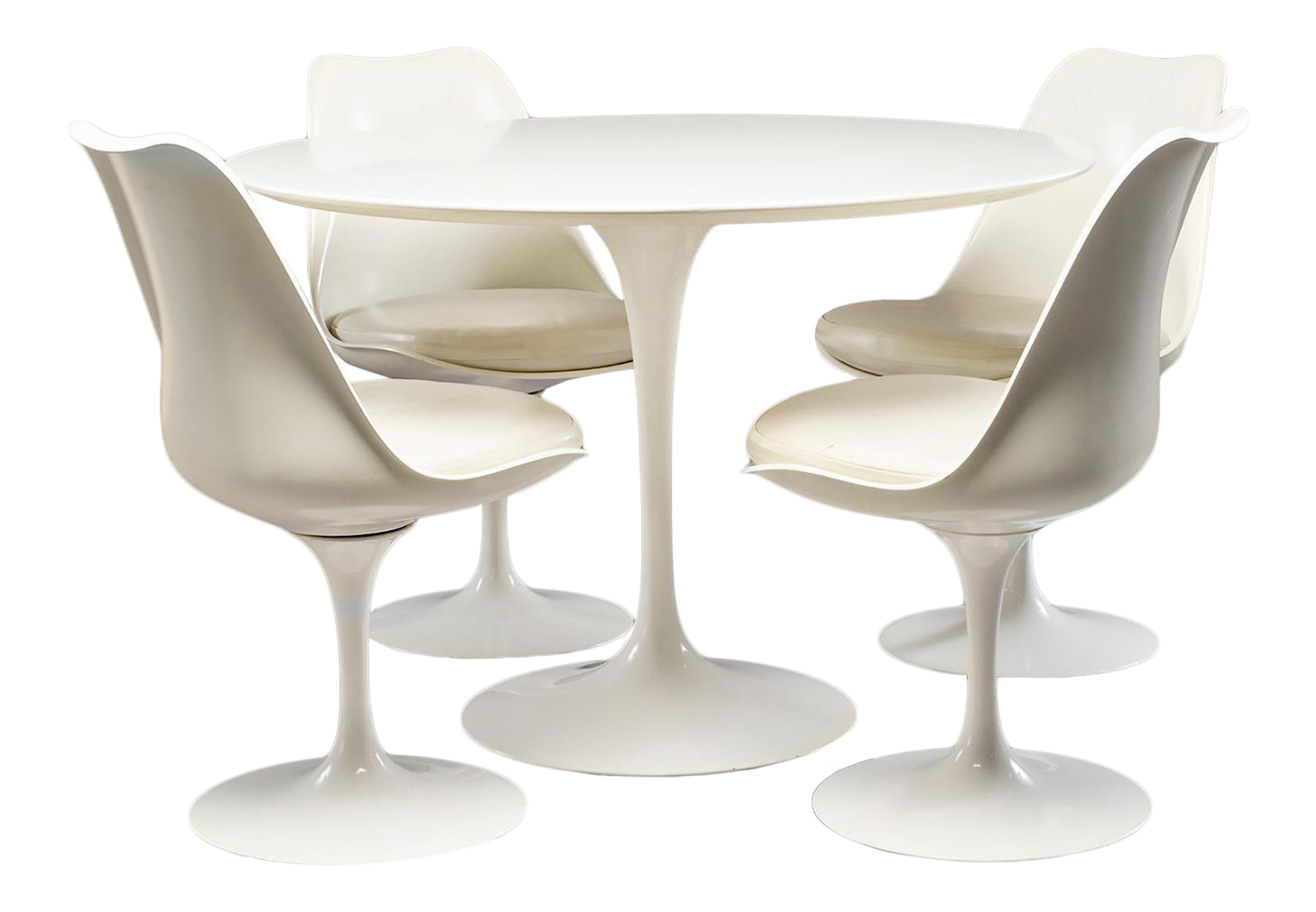Eero Saarinen For Knoll Tulip Dining Set With Four Swivel Chairs And Table