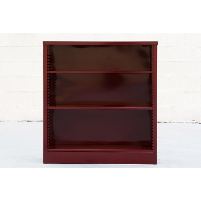 Industrial 1960s Red Wine Steel Tanker Style Bookcase For Sale - Image 3 of 5