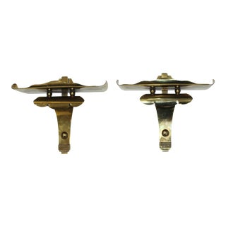 Lotus Pagoda Form Brass Wall Brackets - a Pair For Sale