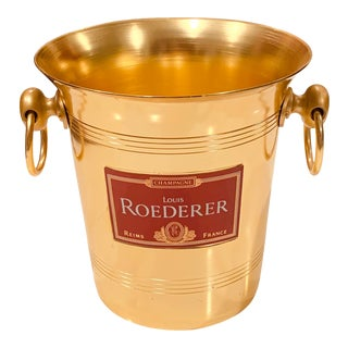 Vintage Mid-Century French Roederer Champagne Gold Aluminium Bucket For Sale