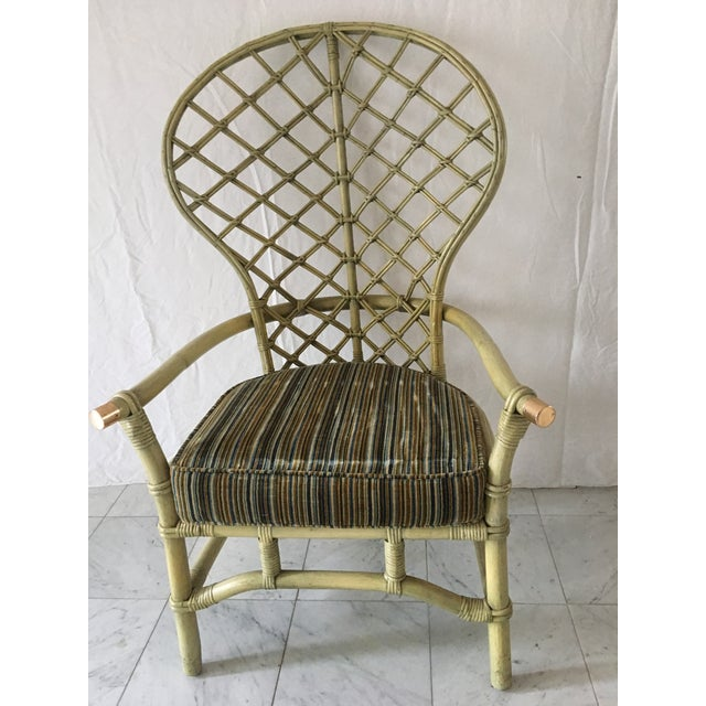 Vintage Green Rattan Fan Back Chair - Image 7 of 11