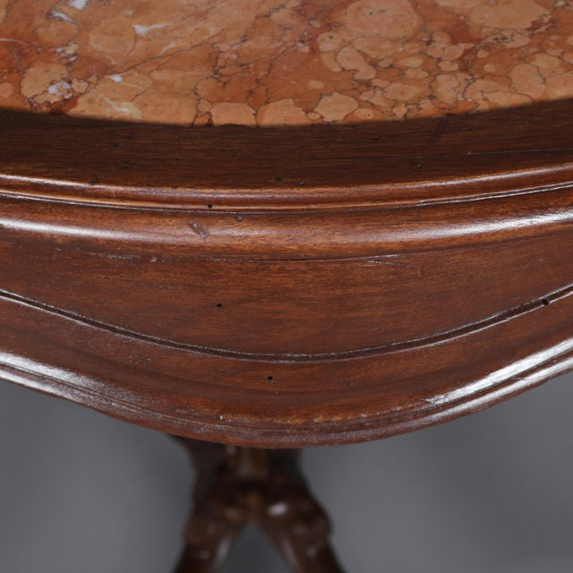 French Antique French Louis XV Style Carved Walnut and Marble Center Table, Circa 1900 For Sale - Image 3 of 13