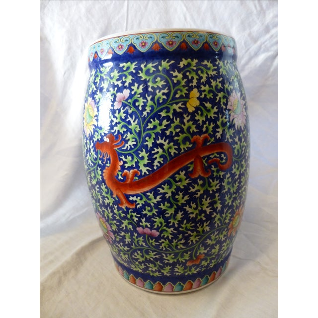 Chinoiserie Garden Stool With Dragon Motif - Image 4 of 8