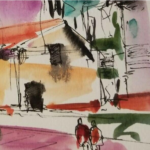 "Contemporary Jose Trujillo Original Watercolor Painting, Houses Village Town Contemporary - 6x9"" For Sale - Image 3 of 4"