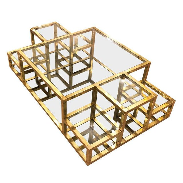 1960s Italian Multi-Level Brass Coffee Table For Sale - Image 10 of 10