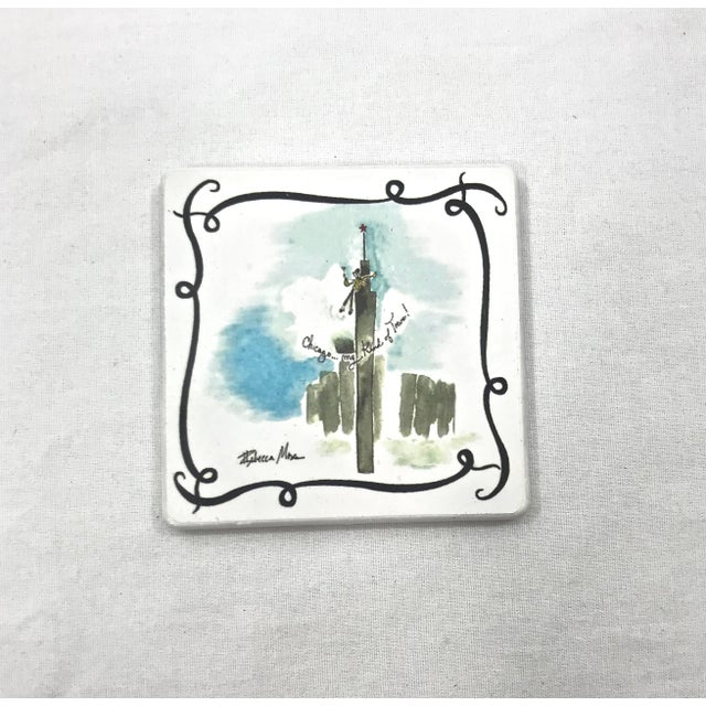 Figurative Ceramic Vacationist Coasters - Set of 6 For Sale - Image 3 of 9