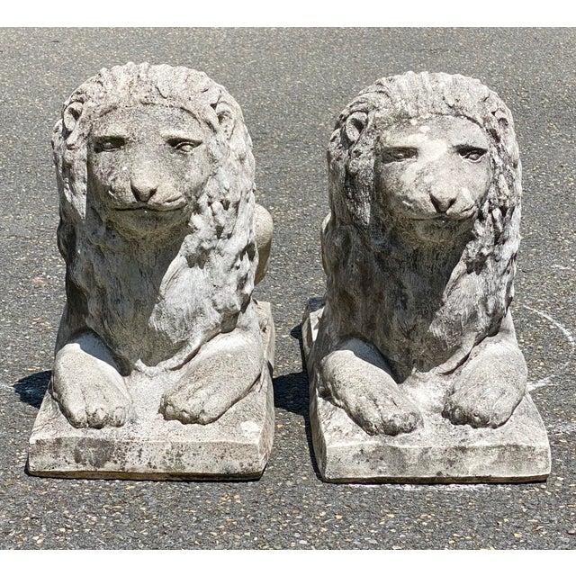 Dove Gray Vintage Concrete Sitting Lions - a Pair For Sale - Image 8 of 8